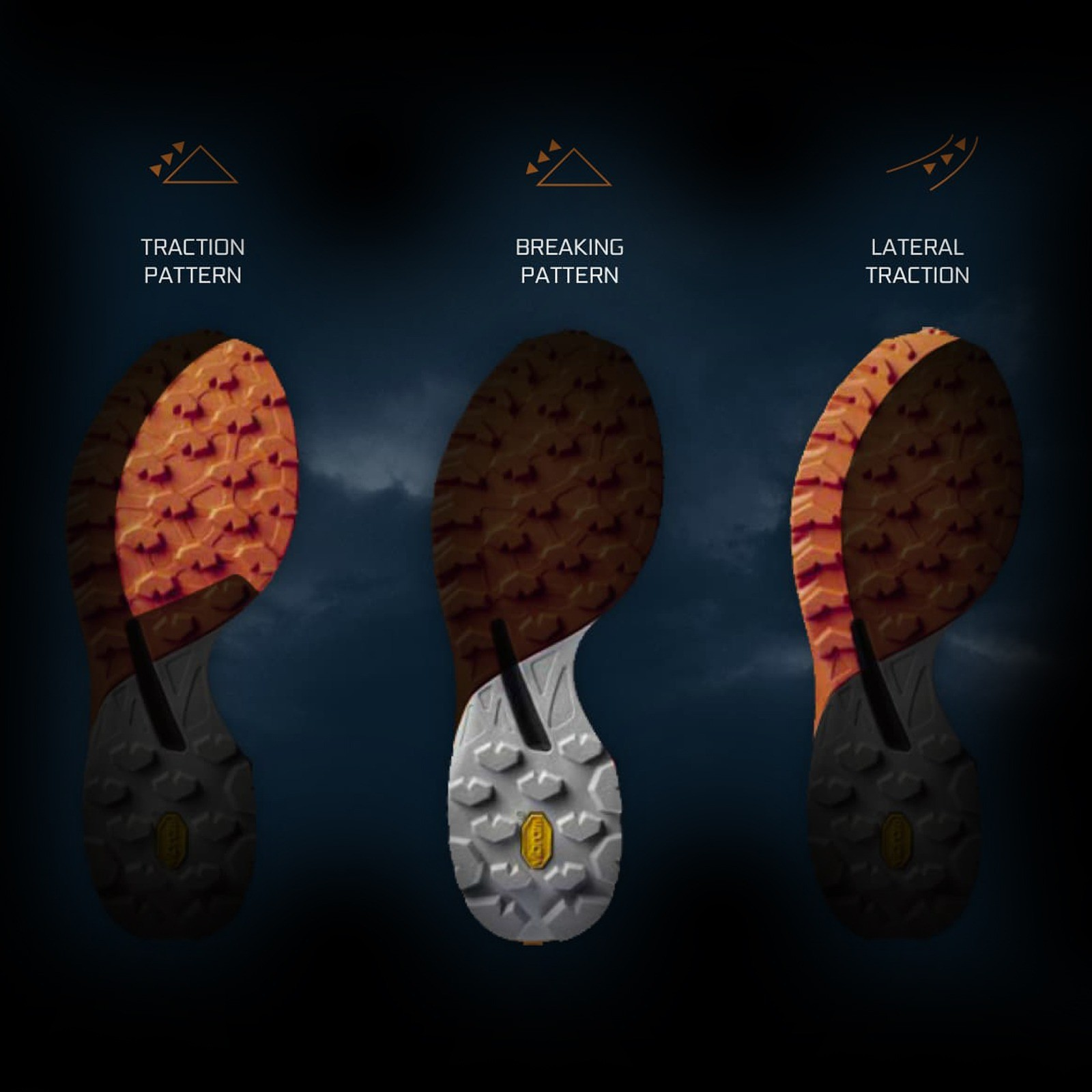 Great traction on different terrains - VIBRAM® MEGAGRIP™ UNIQUE SOLE DESIGN